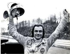 Gunnar Nilsson (S) after winning the 1977 Belgium Grand Prix at Zolder