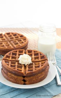 Light and tender inside, crisp on the outside, these Brown Butter Gingerbread Waffles are the BEST!   Kristine's Kitchen