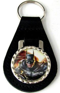 Batman Black Genuine Leather Key Fob With Steel Ring FOB-0063