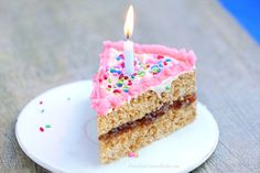 Healthy Birthday Cake by chocolatecoveredkatie: With gluten-free and sugar-free options. #Cake #Birthday_Cake #Healthy