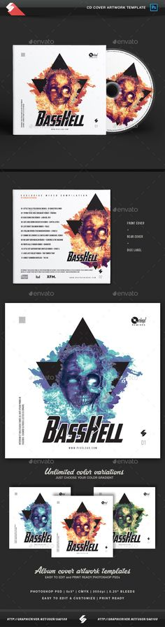 Bass Hell  CD Cover Artwork Template  — PSD Template #album #soundcloud • Download ➝ https://graphicriver.net/item/bass-hell-cd-cover-artwork-template/18303211?ref=pxcr