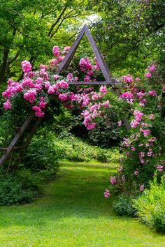 Idyllic rose garden with pink flowering rambler roses Garden Paths, Garden Landscaping, Path Ideas, Country Living, Town And Country, Walking In Sunshine, Landscape Engineer, Oriental Lily, Garden Projects
