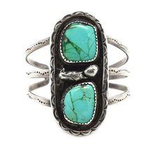 Sterling Silver Genuine Turquoise Bracelet Navajo Native American Indian Jewelry Unsigned
