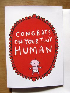 Bootie new baby greeting cards pinterest vintage greeting congrats on your tiny human new baby greeting card congratulations gender neutral non soppy baby card baby shower katie abey m4hsunfo