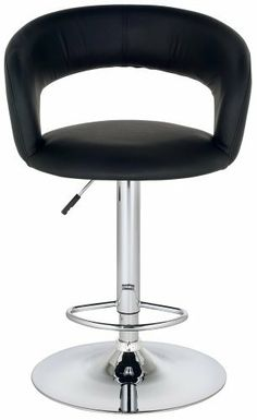 Groove Faux Leather Adjustable Height Black Bar Stool by Universal Lighting and Decor. $129.99. This contemporary adjustable bar stool is upholstered in sleek black faux leather. This design is generously sized with extra depth and width for your comfort. Chrome finish base and footrest complements the look. Features full swivel and gas-lift adjustable height. Perfect for kitchen counters and bar areas.. Save 33% Off!