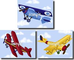 Set of 3 Up Up and Away little airplanes boys bedroom baby nursery 8x10 wall art prints
