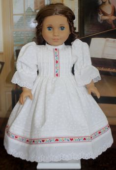 American Girl Style Valentine Dress in White by RuthielovestoSew