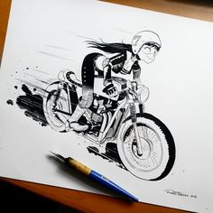 Crank up that engine! Inked drawing made by Raul Trevino
