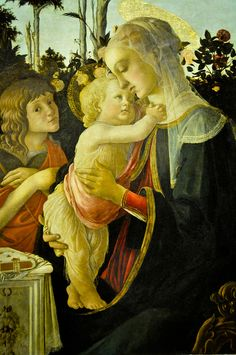 Sandro Bottichelli - The Virgin and Child with Infant Saint John the Baptist, 1475 at the Louvre Museum Paris France