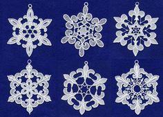 Fleur De Lis Lace Snowflakes Embroidery Design Set - Machine Embroidery Designs on Etsy, $15.00