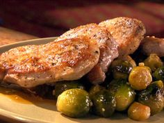 Get Maple-Glazed Pork Chops with Brussels Sprouts Recipe from Food Network