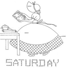 Saturday Sunbonnet Days of the Week from love to sew