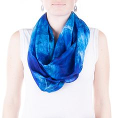 Infinity bright blue silk scarf / bright blue by CeliaEtcetera