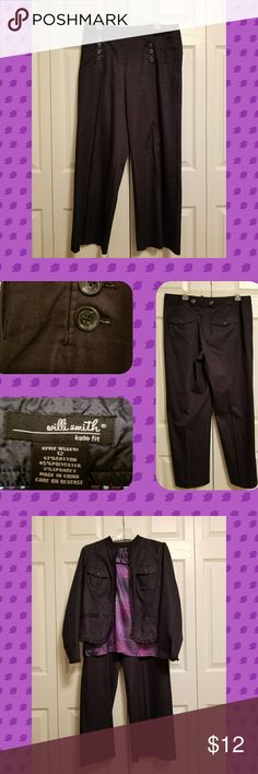 🗼 Blue dressy jean pants Willi Smith polished blue dressy jean pants.  Some signs of wear shown in pic below button.    🗼🗼🗼🗼🗼🗼🗼🗼🗼🗼  Offers welcome.  Bundle with jacket and top to save.  Smoke/Pet Free Home   Thank you for stopping by my closet.  Let me  know if you have any questions.  🎵🎢♥️ Willi Smith Pants Trousers