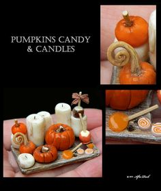 Pumpkins Candy & Candles - Artisan fully Handmade Miniature in 12th scale. From After Dark miniatures.