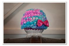 OOAK Infant Hat with Bow Slub yarn by TheChikenCoop on Etsy, $22.00