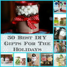 50 of the BEST DIY and Homemade Holiday gifts ever! Perfect for family, friends and co-worker. Great for Christmas, Hanukkah and New Years Hostess gifts!