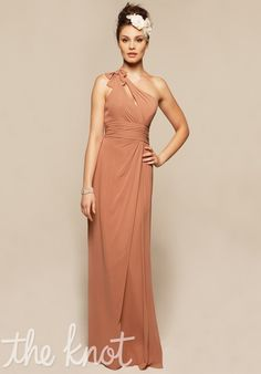 A one shoulder, floor-length bridesmaid dress with keyhole neckline from Liz Fields Bridesmaid Dresses // Style: 363