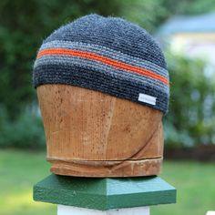 Tapestry crochet alpaca beanie orange and grey beanie by UpthePitt, $35.00