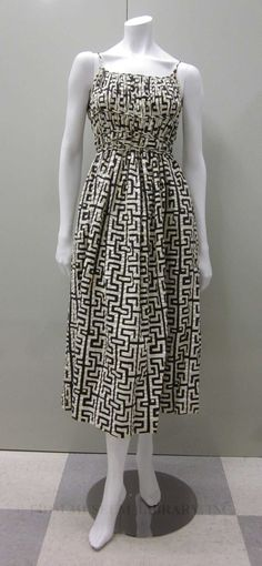 Black and white Greek key-print cotton dress, by Claire McCardell, American, 1952.