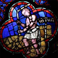 Cathédrale Notre Dame de Paris, vitrail du battage du blé sur son aire au fléau