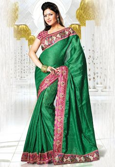 Green Cotton Net Saree With Blouse Online Shopping: SDW1783A