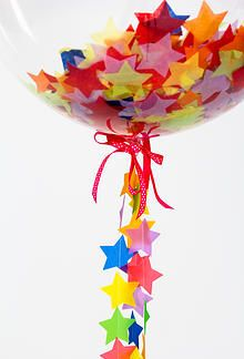Superstar Balloon filled with star confetti and adorned with a handmade star tail! Bubblegum Balloons - Wedding Balloons and Send a Balloon | SHOP