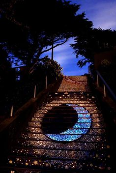 Glow in the dark?!? Mosaic stairs