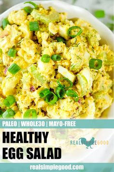 This healthy egg salad is such an easy Paleo and lunch recipe. There's no mayo in the ingredients, but the egg salad is still creamy and delicious – you won't miss it! It uses coconut yogurt instead and is the perfect recipe to whip up for a quick Primal Recipes, Egg Recipes, Real Food Recipes, Lunch Recipes, Burger Recipes, Dinner Recipes, Healthy Egg Salad, Healthy Salad Recipes, Healthy Mayo