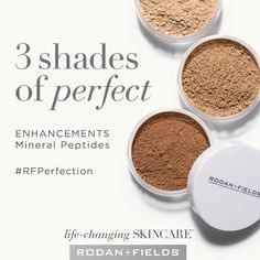 R + F Mineral Peptides are a little different than some of the leading brands of mineral powders. Why?  Ours does not dissolve in water!    This means you won't sweat it off and it won't seep into your skin.  It is lightweight, offers SPF sun protection, evens skin tone, and reduces redness.  It comes in three shades and you can even use them together to contour!   This is my MUST HAVE product! Are you ready to be foundation free?