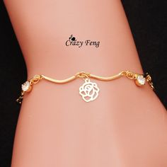 Free shipping trendy classy wholesale summer style Brand New fashion flower crystal jewelry charm bracelet & anklet for women