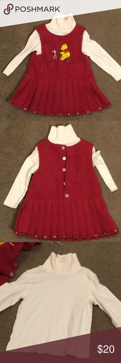 Winnie the Pooh ultra cute dress combo The dress is 2t the turtle neck is 3T  So cute Disney Dresses Casual