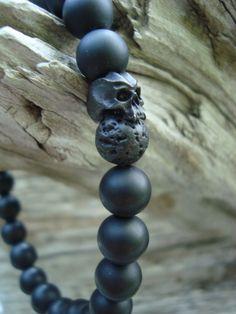 wtfbeads...Mens Matte Onyx Black Lava Rock Cyber Skull Stretch Beaded Bracelet #wtfbeads #Beaded