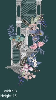 Embroidery designd on Behance Flower Pattern Drawing, Pattern Art, Flower Patterns, Flower Designs, Baroque Pattern, Baroque Design, Textile Prints, Textile Design, Textiles
