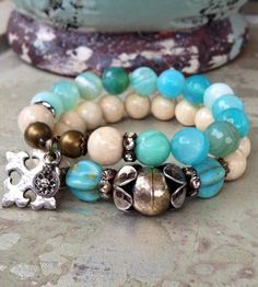 Sea Foam Agate Tropical Chic Set Thai Antique by CountryChicCharms, $72.00