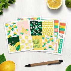 Lemonade - Mini Planner sticker kit sheets) - for Happy Planner and Erin Condren Life Planner, Happy Planner, Permanent Marker, Gel Pens, Erin Condren, Sharpie, Planner Stickers, Lemonade, Original Artwork