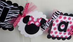 Minnie Mouse Banner in Hot Pink and Zebra Minnie Birthday, Little Girl Birthday, Minnie Mouse Party, Baby First Birthday, 1st Birthday Parties, Birthday Ideas, Happy Birthday, Mini Mouse Baby Shower, Baby Mouse