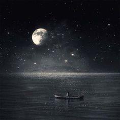 A poesia e o surrealismo nas fotos de Kasia Derwinska. - Lua, céu, barco.