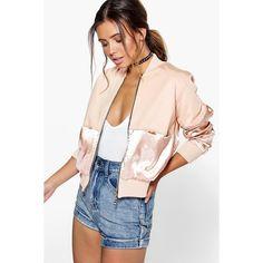 Boohoo Petite Petite Nancy Satin Panel Bomber Jacket ($35) ❤ liked on Polyvore featuring outerwear, jackets, nude, pink jacket, flight bomber jacket, puffa jacket, duster coat and pink duster coat