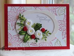3D Christmas card with paper clay roses from Stampin' Up!