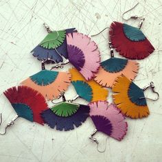 Colourful fan earrings!