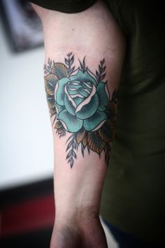 blue rose by portland tattoo artist alice carrier.  done at anatomy tattoo.