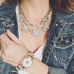 tee, statement necklace, denim jacket