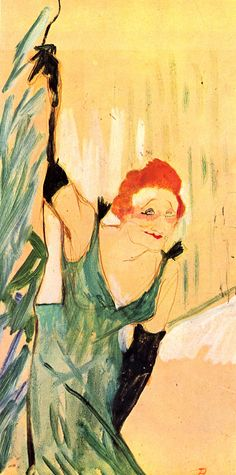 'Yvette Guilbert' (1894) by Henri de Toulouse-Lautrec. Oil painting. At Musee Toulouse Lautrec