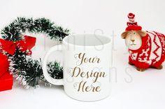 Christmas Styled White Mug Mockup Holiday by MariniStyleDesigns