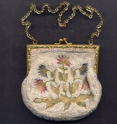 Ladies' French Bag with Beading and Needlework from Turtle Creek Antiques, Inc. at RubyLane.com