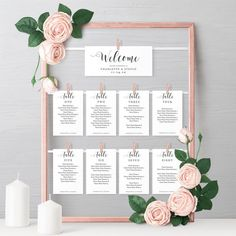 DIY Hanging Seating Chart Frame, Printable Seating Card Templates for your Table Plan frame, instantly download, 'Mr. & Mrs.' Editable PDF
