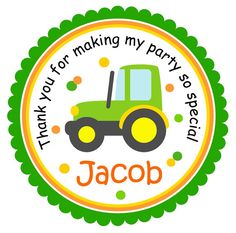 Tractor Stickers, Personalized Labels, John Deere Labels, Tractor  Favor Stickers- set of 12