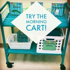 The Morning Cart!- The Morning Cart! Glitter in Third: The Morning Cart! Great for back to school classroom management and organization. Classroom Hacks, First Grade Classroom, Future Classroom, School Classroom, Kindergarten Classroom Layout, Elementary Classroom Themes, Creative Classroom Ideas, Classroom Reading Nook, Classroom Management Primary
