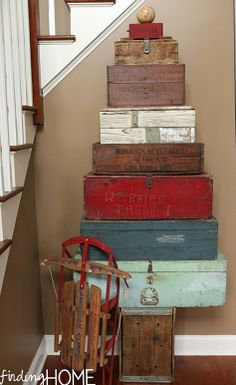 Toolbox and crate stacked Christmas tree   ****good idea for all the misc baskets and wooden boxes I have around